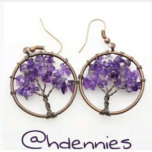 Amethyst 'Tree of Life' Wire Wrapped Earrings